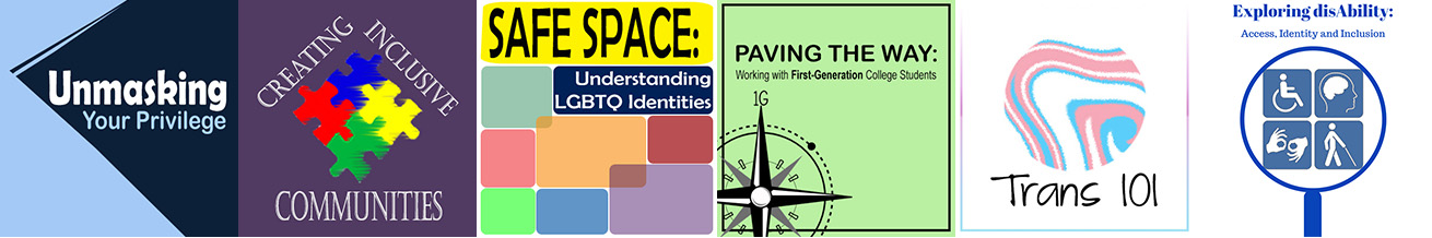 CDI EAGLE Workshops Logo, from left to right Unmasking Your Privilege, Creating Inclusive Communities, Safe Space, Paving the Way, Trans 101, Exploring Disability
