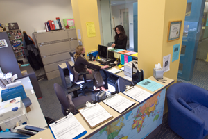 photo of the front desk of the counseling center