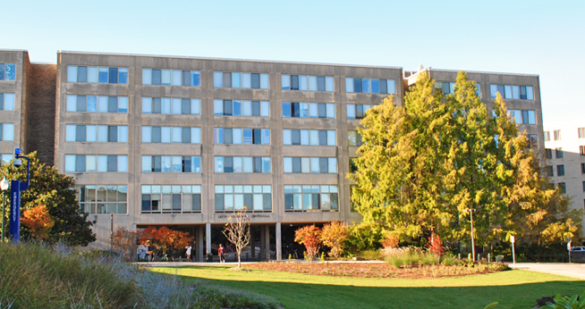 Residence halls at American University in the fall