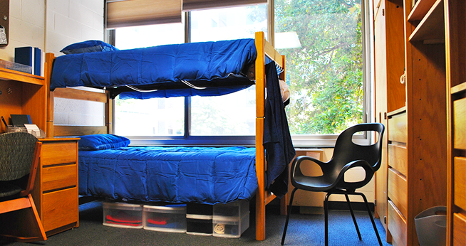 Bed lofts create more space for students to organize their belongings