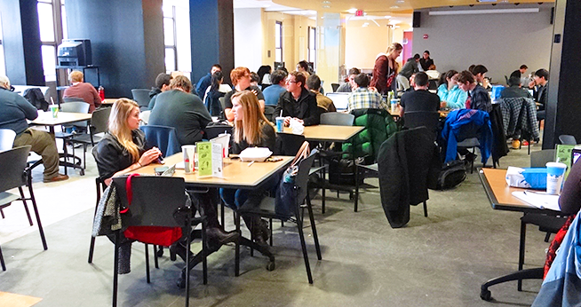 Students eating, socializing, and studying at Mary Graydon Center