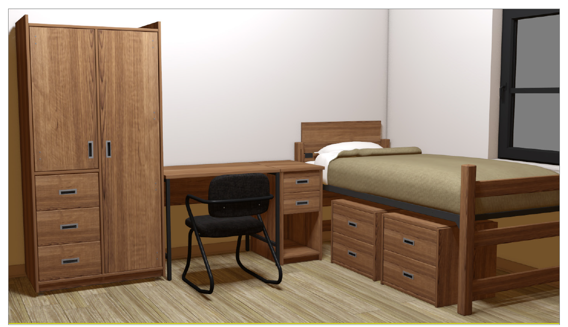 Room specifications housing residence life american university washington d c for Bedroom furniture washington dc
