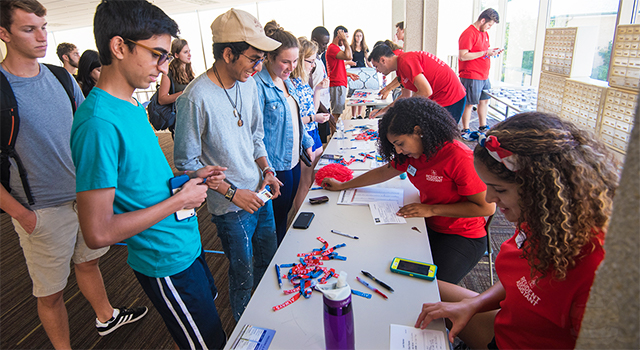 Students check in during move-in at Letts Hall