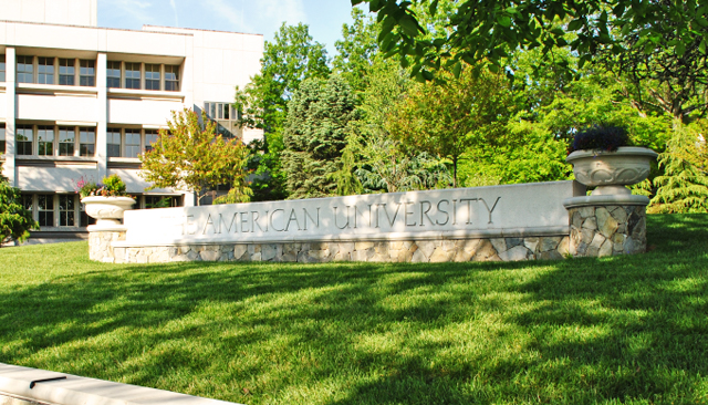 American University sign at Ward Circle