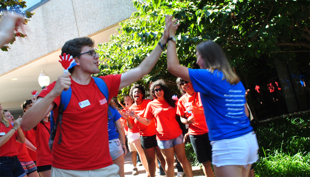 Resident Assistants welcome new students at Opening Convocation during Welcome Week