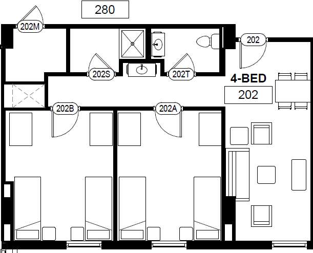 Double In 2 Bedroom Suite Bathroom And Living Room