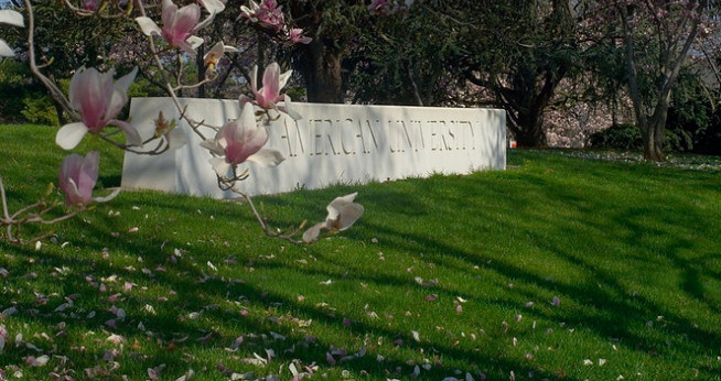 American University sign in the springtime