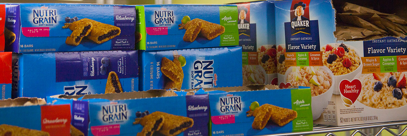 Picture of nutrigrain boxes and oatmeal boxes.