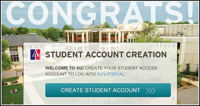 Create your AU account through the student portal