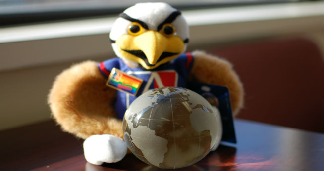 Clawed the Eagle with a globe