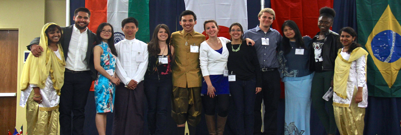 International students in traditional dress at the international gala
