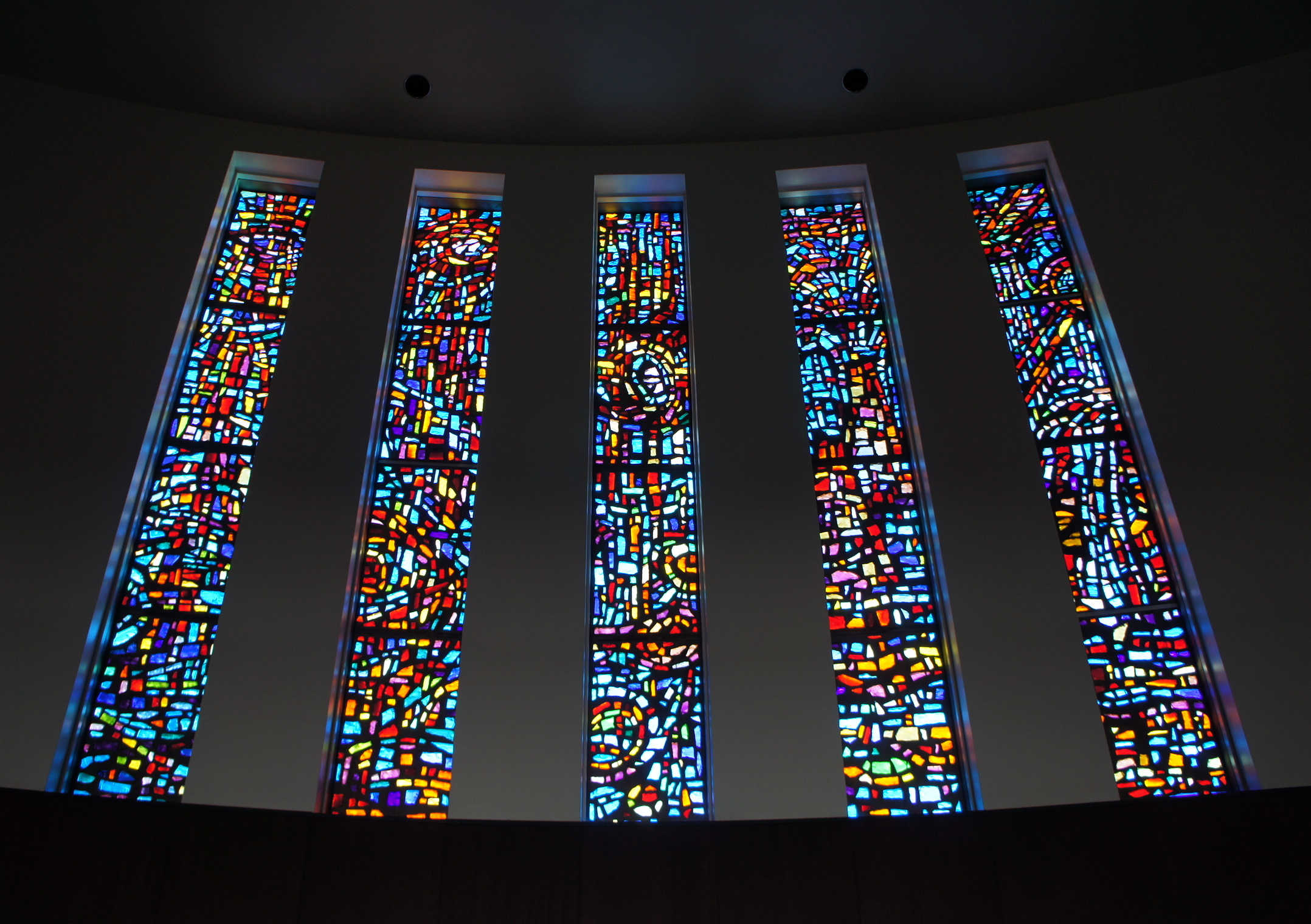 Stained glass windows in the Kay Chapel
