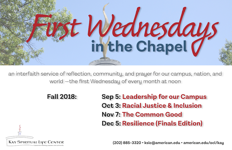 Fall 2018: Sep 5: Leadership for our Campus Oct 3: Racial Justice & Inclusion Nov 7: The Common Good Dec 5: Resilience (Finals Edition)