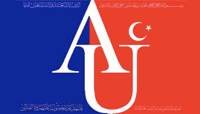 AU Logo with Quranic Verse and Crescent Moon Superimposed