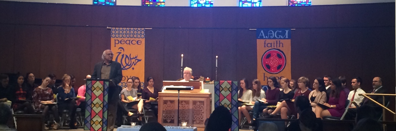 Muslim chaplain Dr. Ahmad speaks at an Interfaith Chapel Service