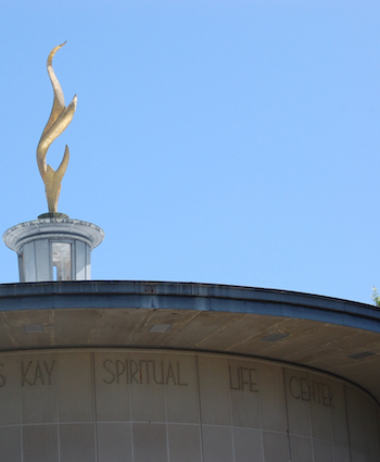 Flame atop the Kay Spiritual Life Center