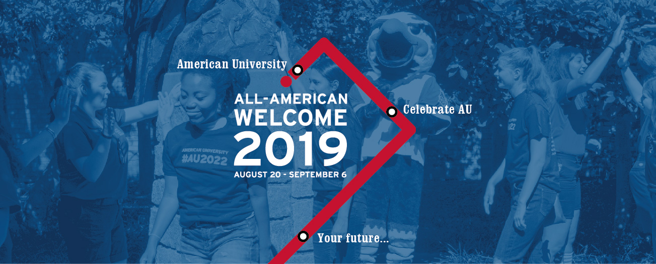 All American Welcome 2019 with metro map and image of AU convocation