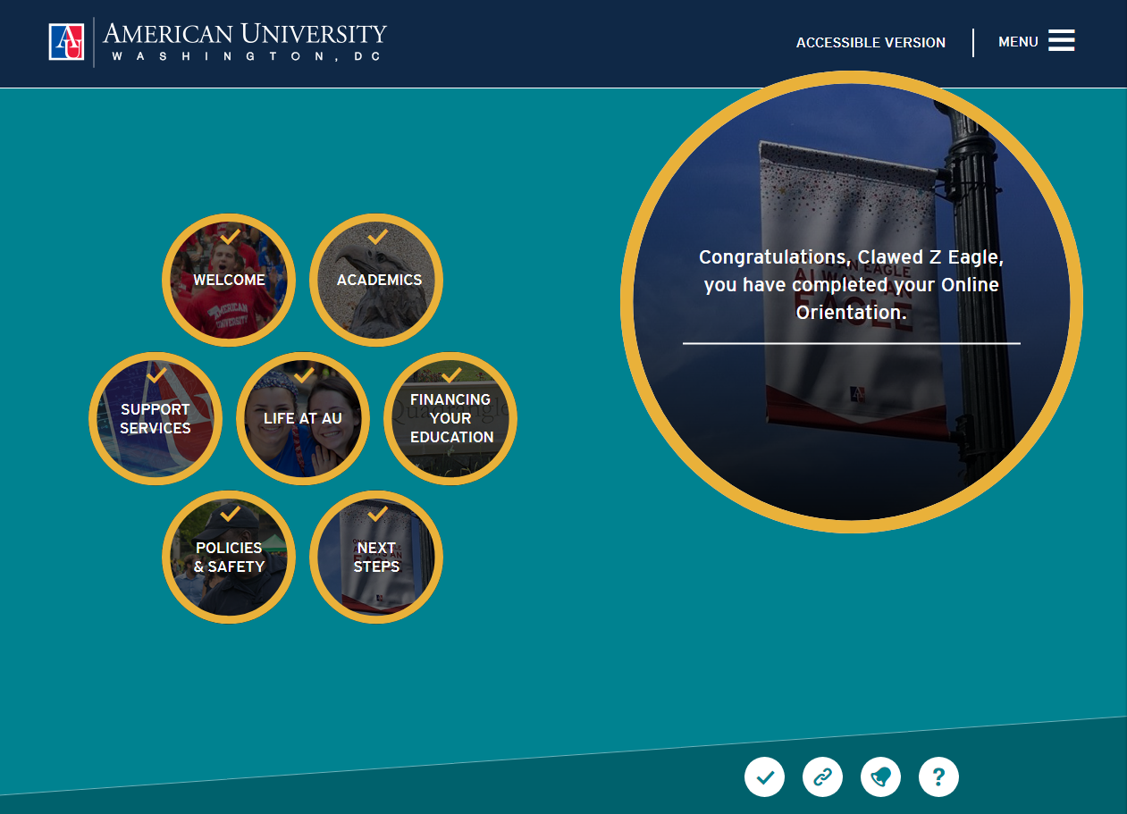 Online orientation for American University