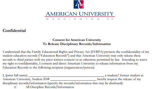 Disciplinary Records – Records Release Form