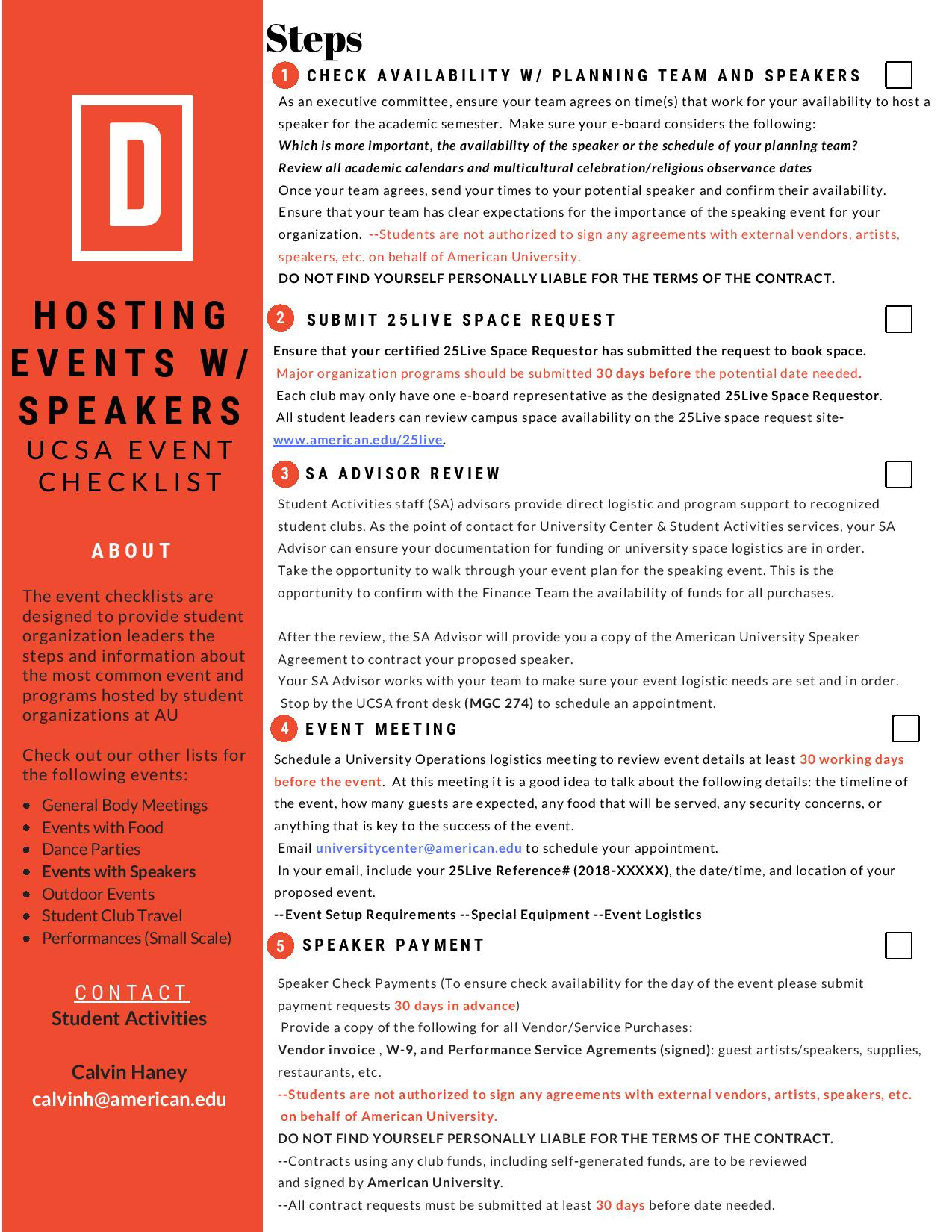 Events with Speakers Checklist