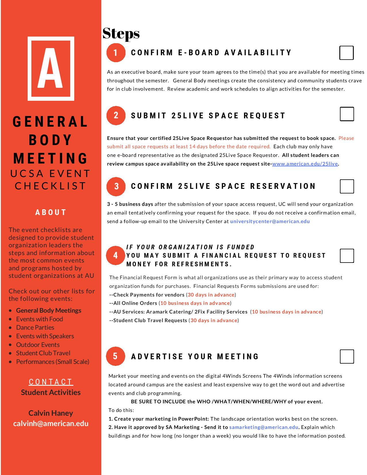 General Body Meeting Checklist