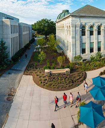 Aerial view of Bender Library and McKinley building.
