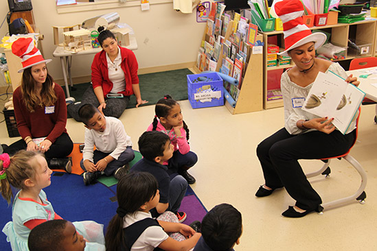 Dr. Seuss day volunteers read to children