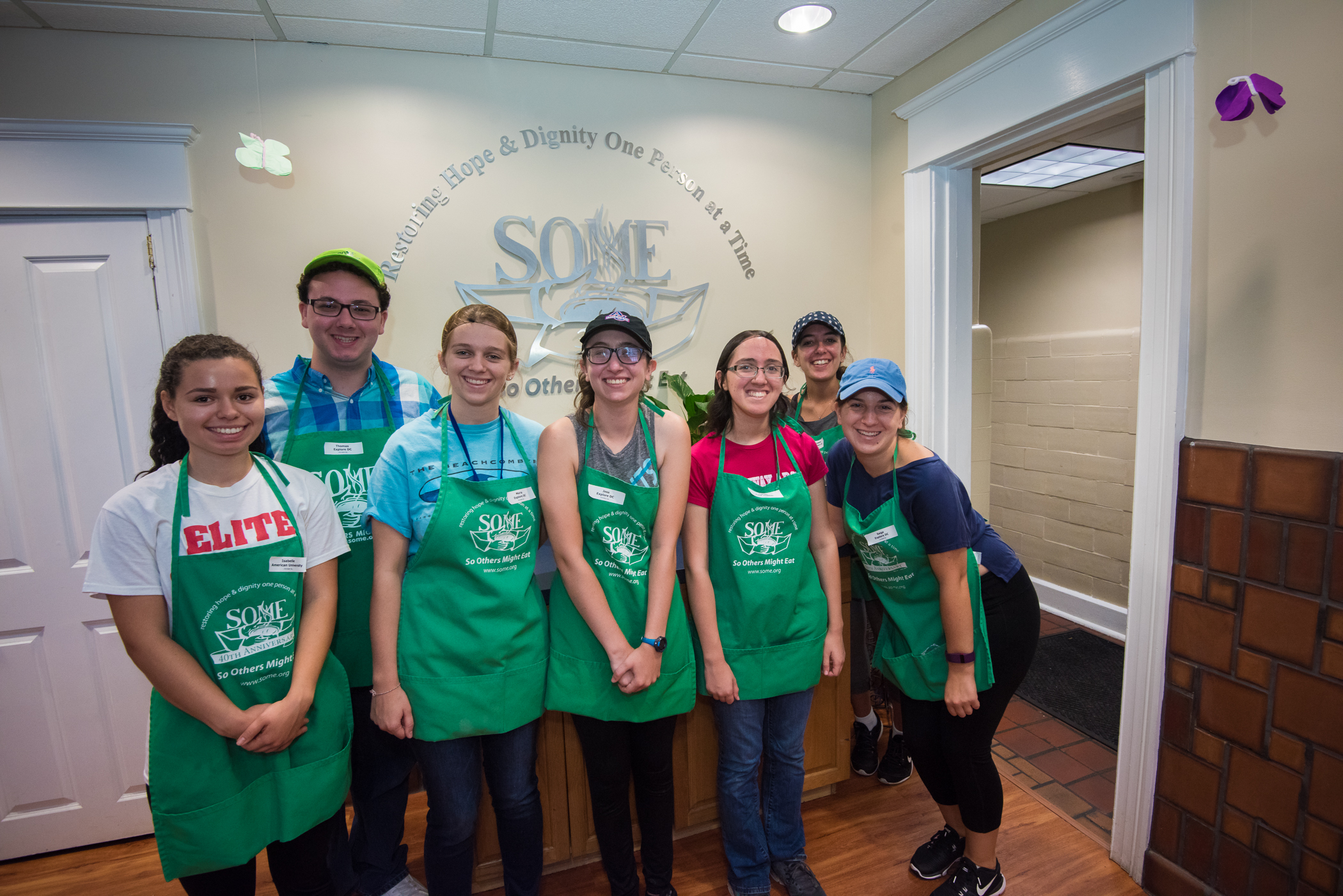 Students volunteering at So Others Might Eat organization