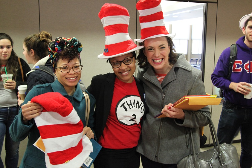 Staff members are ready to volunteer for Dr. Seuss Day