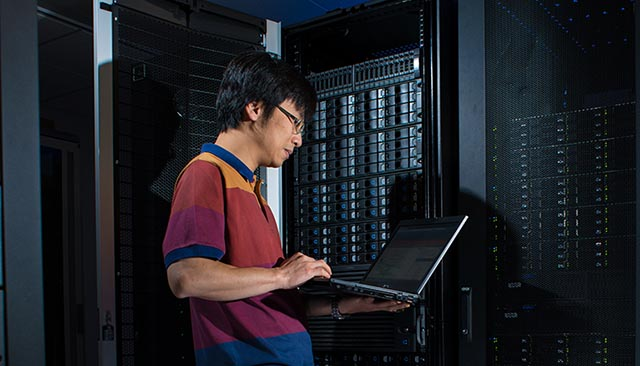 OIT engineer working in data center