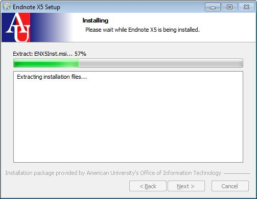 EndNote X5 Setup window