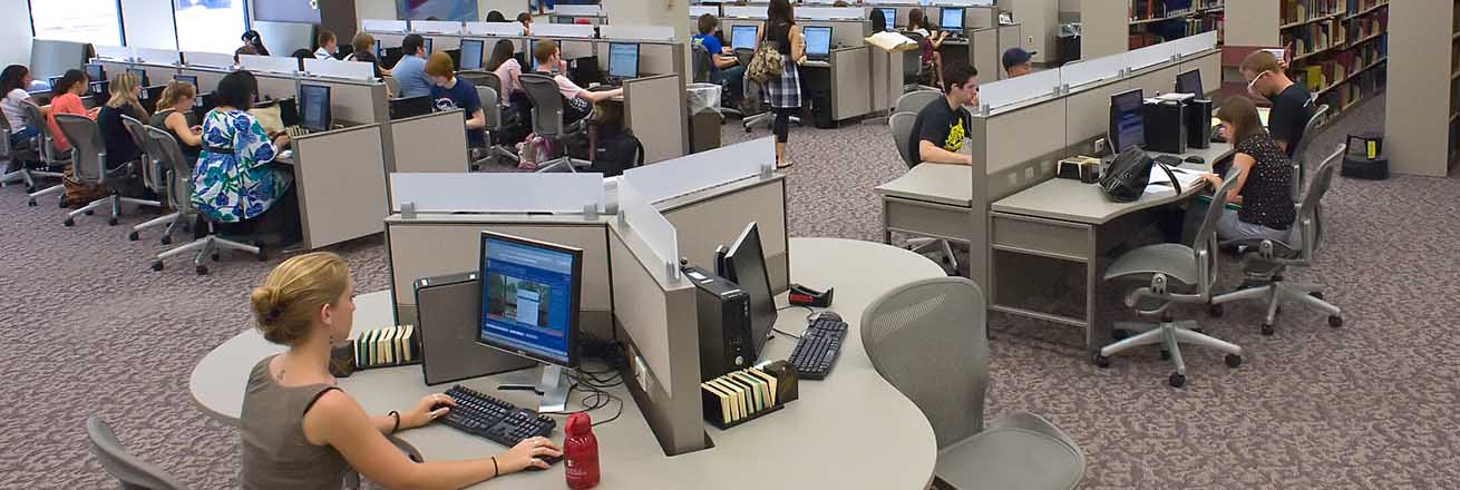 Students access the many University Library computer workstations