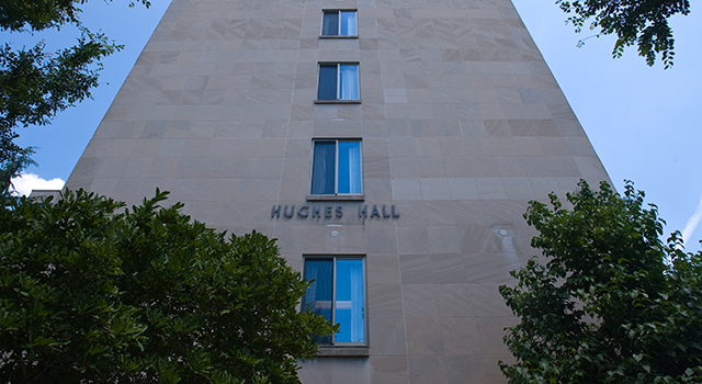 Exterior of Hughes Hall building
