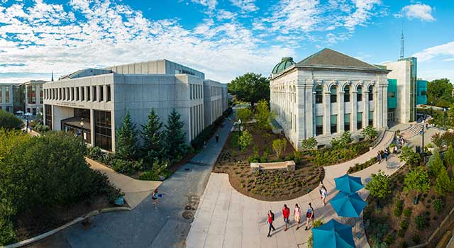 Aerial view of Bender Library and McKinley building
