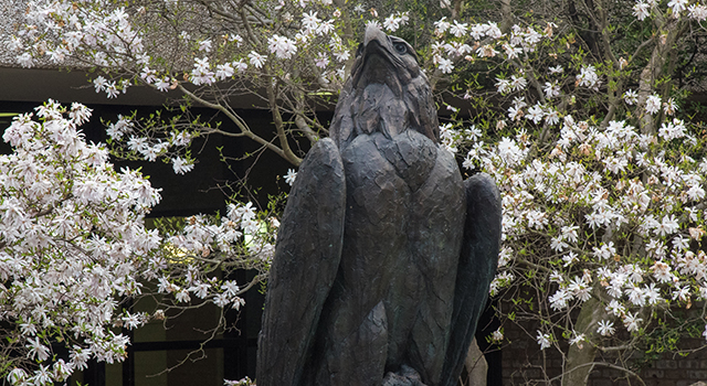 The eagle statue. Rub its talon for good luck.