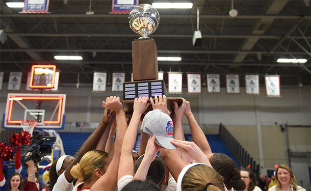 AU women's basketball team lifts patriot league trophy