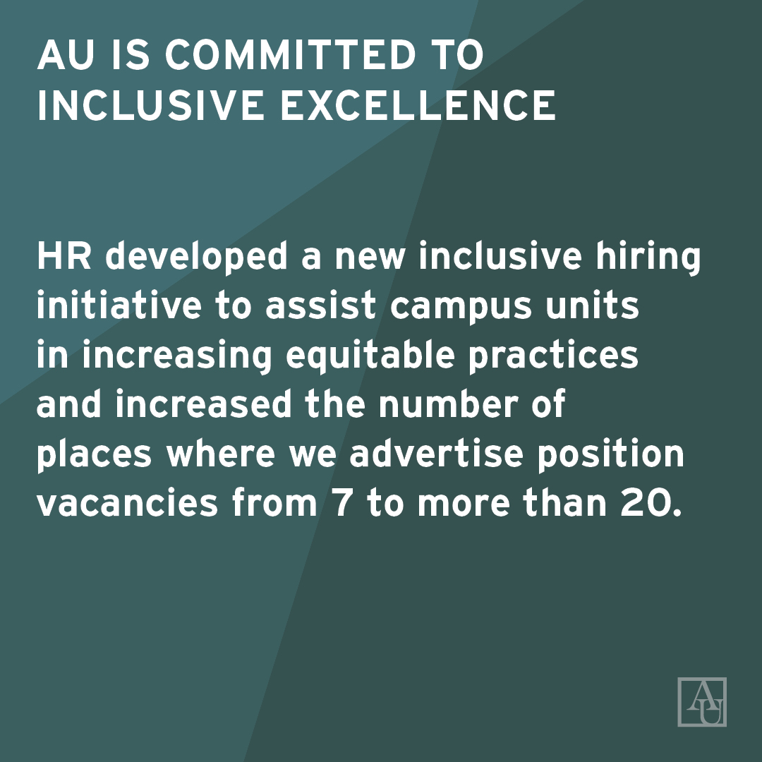 AU is committed to inclusive excellence. HR developed a new inclusive hiring initiative to assist campus units in increasing equitable practices and increased the number of places where we advertise position vacancies from 7 to more than 20.