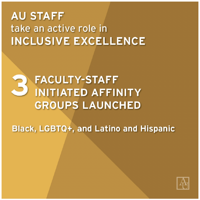 AU staff tale am actove role in Inclusive Excellence. 3 faculty-staff initiated affinity groups launched for black, LGBTQ+, and Latino and Hispanic