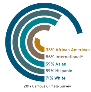71-percent of white students agreed they feel included on campus in the 2017 Campus Climate Survey, as opposed to 59-percent of Hispanic, 59-percent of Asian, 56-percent of international students, and 33-percent of African American students.