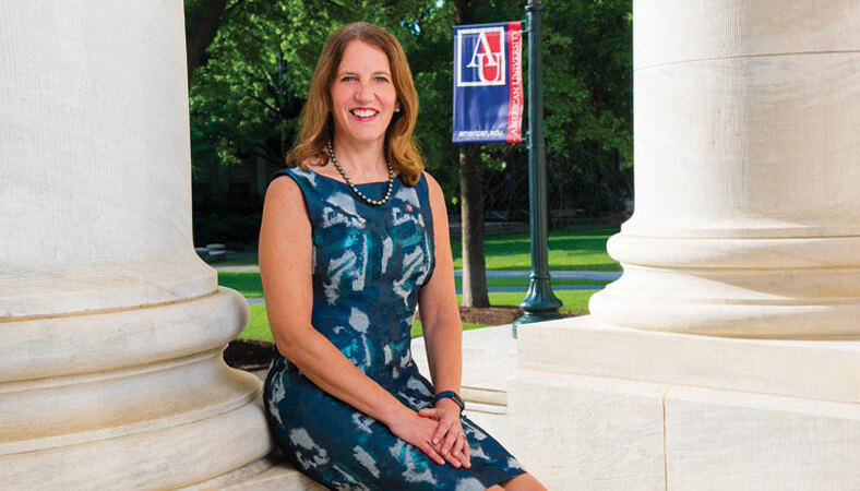 President Burwell sitting in front of the Hurst Building