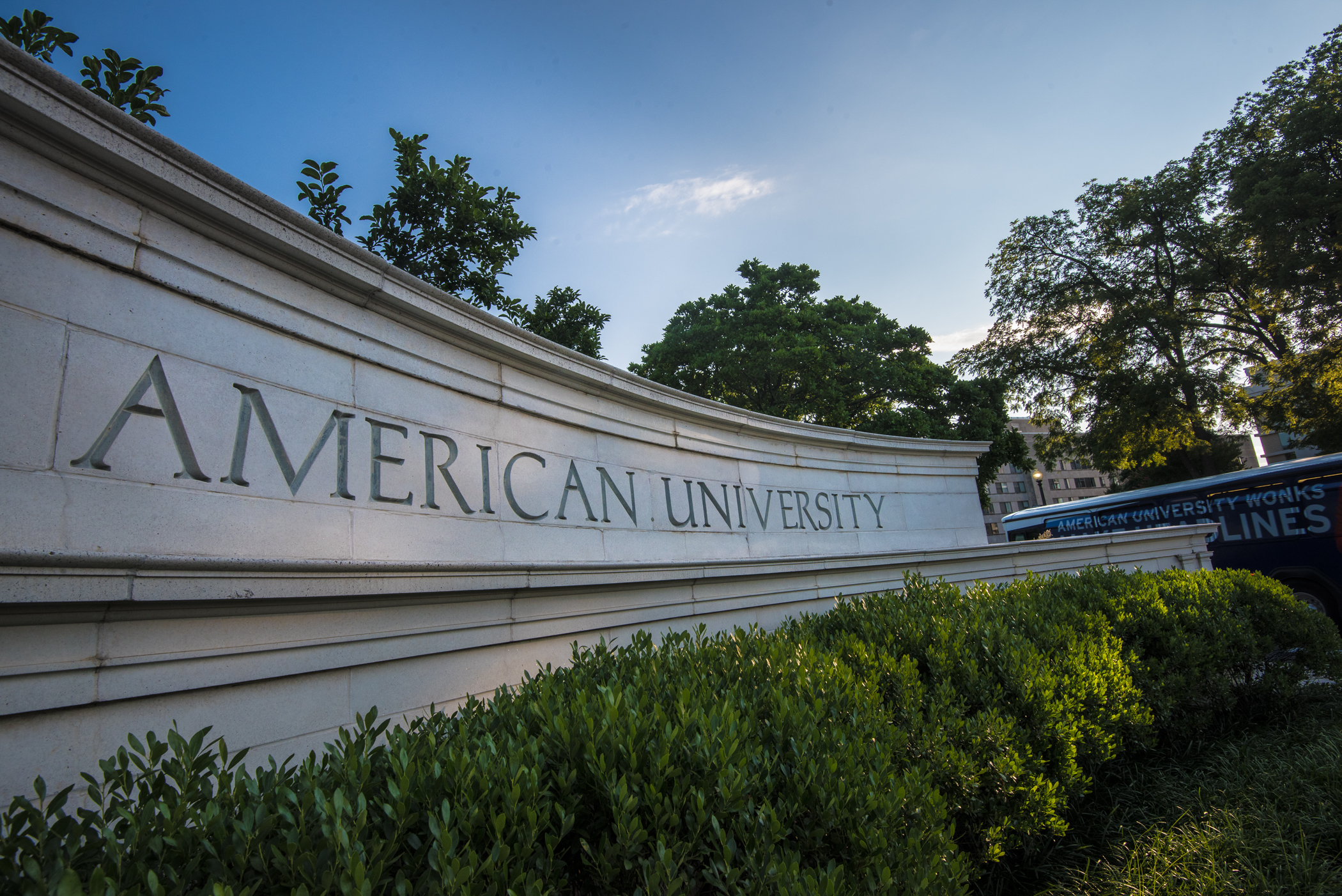 phot of the American University sign at the main campus gate