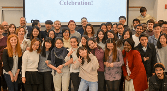 English as a Second Language students at the end of semester celebration (fall 2017)
