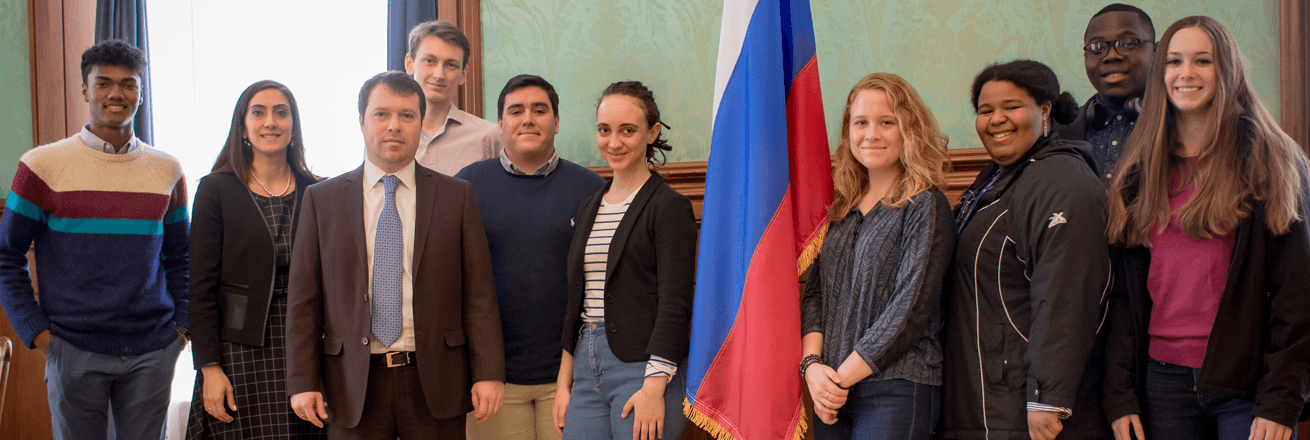 Gap students at Russian Embassy with Deputy Head of the Economic Section, Grigory Zasypkin
