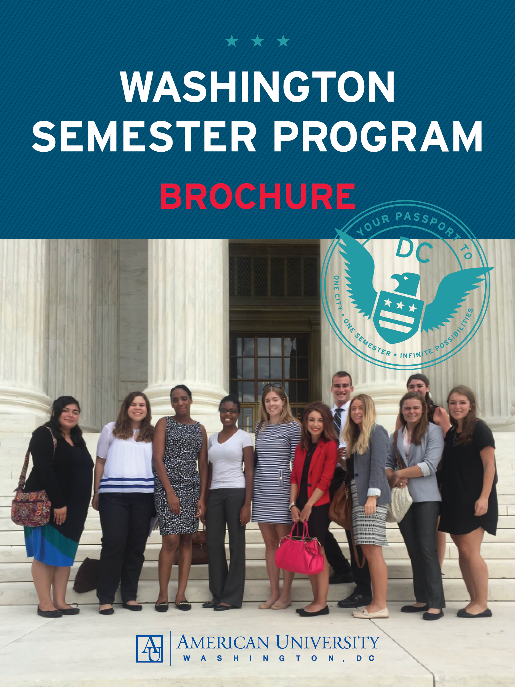 Washington Semester Program Brochure features Students standing on building steps