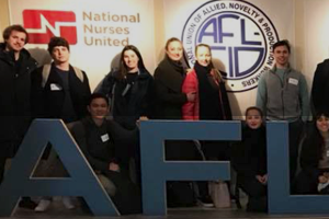Washington Semester Program Professor Jeffrey Sosland's class attends guest speaker event at the headquarters of the AFL-CIO.
