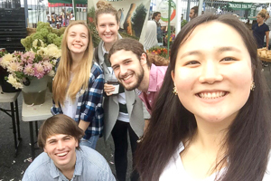 Alyssa with fellow students at the Dupont Sunday Market