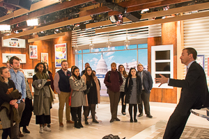 Alyssa with her political communications class on the set of Meet the Press