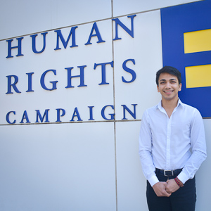 Washington Semester Ambassador Shahamat Uddin at the Human Rights Campaign