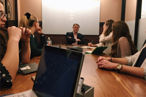 Politico reporter Daniel Lippman meets with Washington Semester students