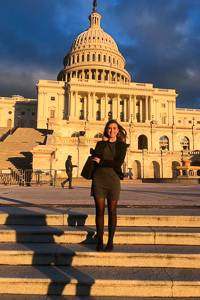 Maddie in front of the United States Capitol Building